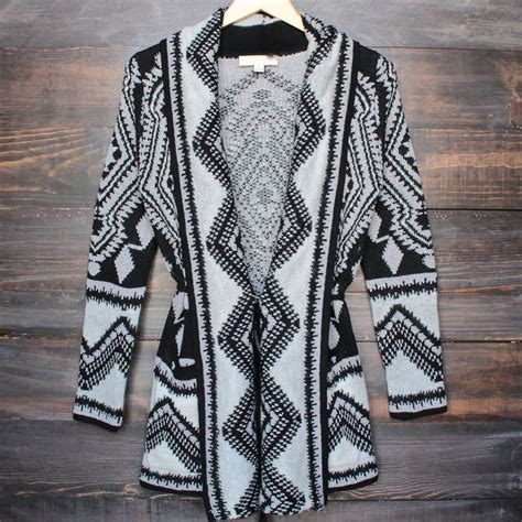 Twist Tribal Sweater cozy fall tribal wrap cardigan sweater in grey