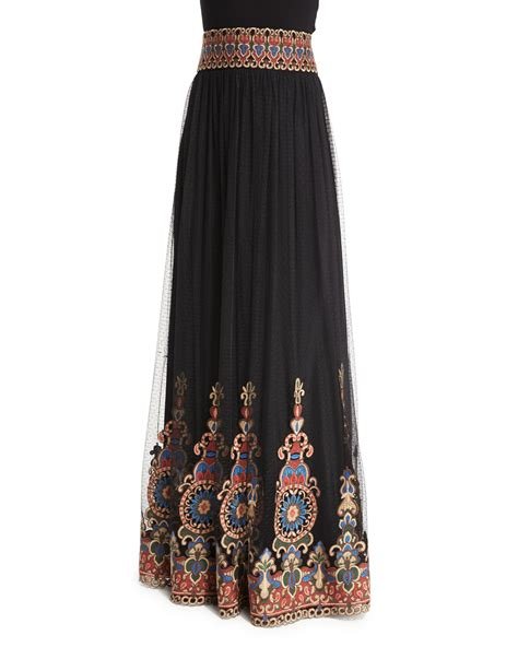 Embroidered Maxi A Line Skirt savanna embroidered tulle maxi skirt in