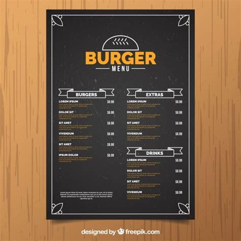 burger menu template vintage burger menu template with orange details vector