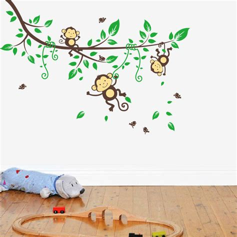 childrens wall mural stickers monkey tree wall stickers decals children