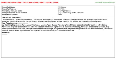 leasing agent outdoor advertising cover letter