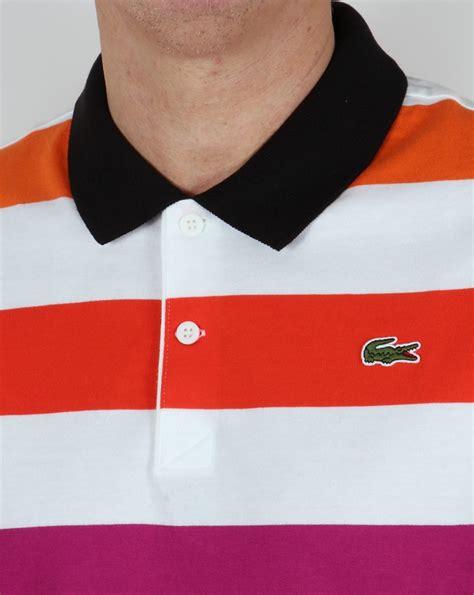 Lacoste Stripe lacoste multi stripe polo shirt white cantaloupe cotton