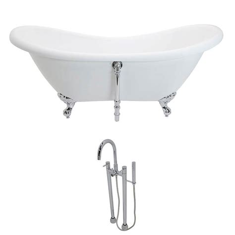 7 Ft Bathtub by Anzzi Aegis 5 7 Ft Acrylic Slipper Clawfoot Non Whirlpool Bathtub In White And Sol