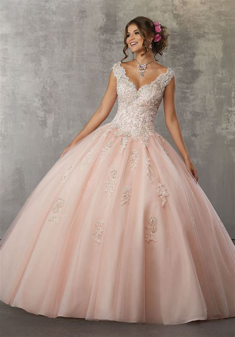 Dress Mesya beaded lace appliqu 233 s on a tulle gown style