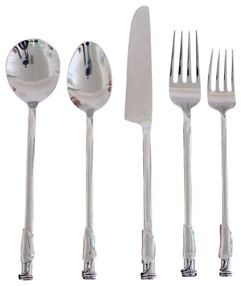steel place setting set of 5 modern flatware and handmade stainless steel leaf flatware 5 piece setting 4