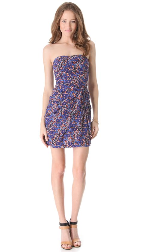 Dress Monaco club monaco strapless dress in floral lyst