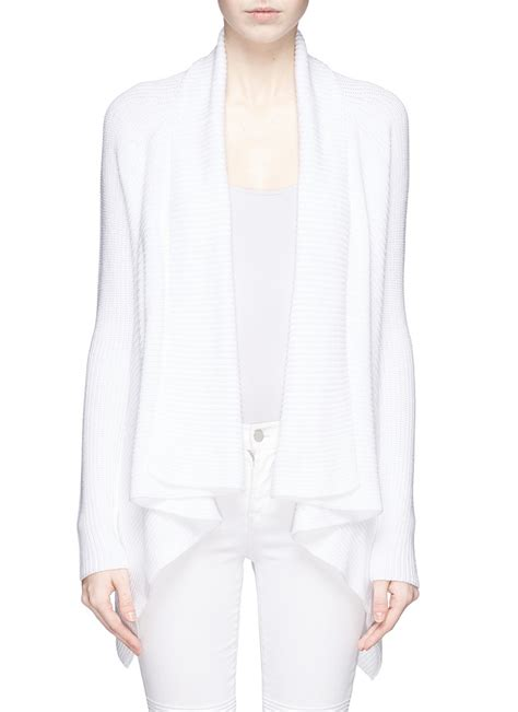 Vince Drape Front Rib Knit Cotton Cardigan In White Lyst