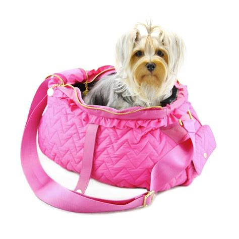 puppy in dogs of fab messenger carrier in pink