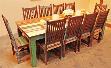 reclaimed wood dining table and chairs marceladick