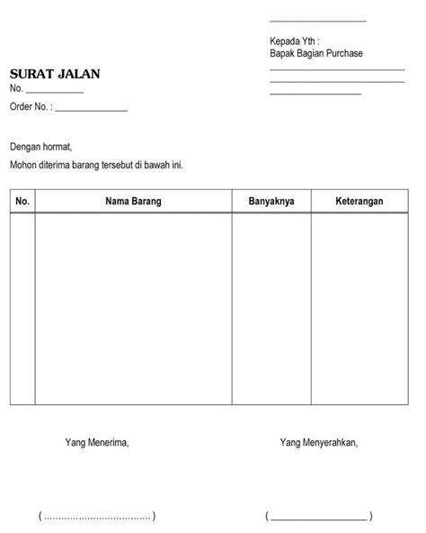 Contoh Surat Resmi Permohonan Pembelian Barang by Contoh Surat Jalan Pengertian Pengiriman Barang