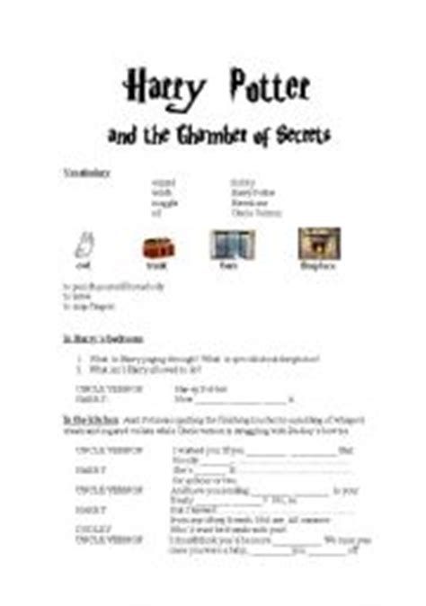 harry potter printable activity sheets intermediate esl worksheets harry potter and the chamber