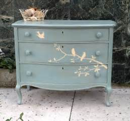 furnitologist beautiful solid wood hand painted dresser with birds cottage shabby chic inspired
