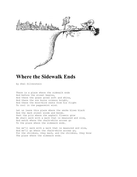 where the sidewalk ends poems and drawings shel shel silverstein quill aquiver