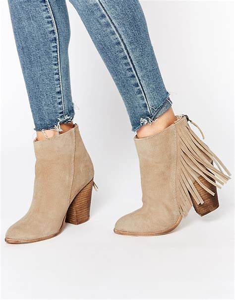 new look new look suede fringe heeled boots at asos