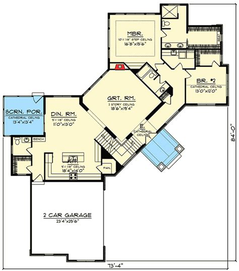 Angled Mountain Ranch With Loft 89969ah Architectural Ranch House Floor Plans With Loft