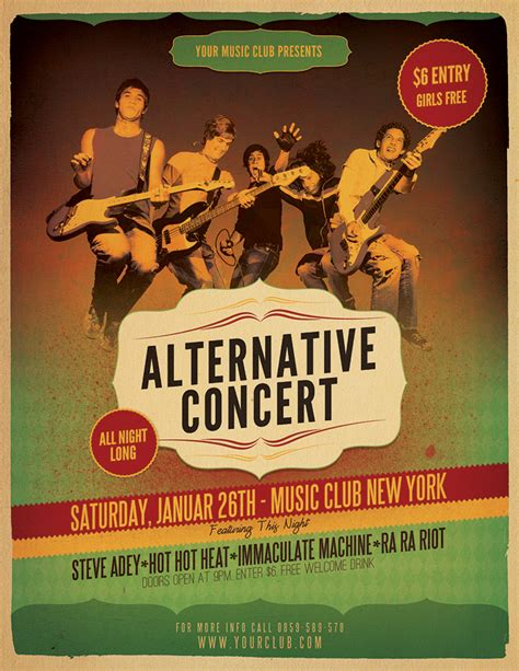concert flyer template alternative concert flyer template vandelay design
