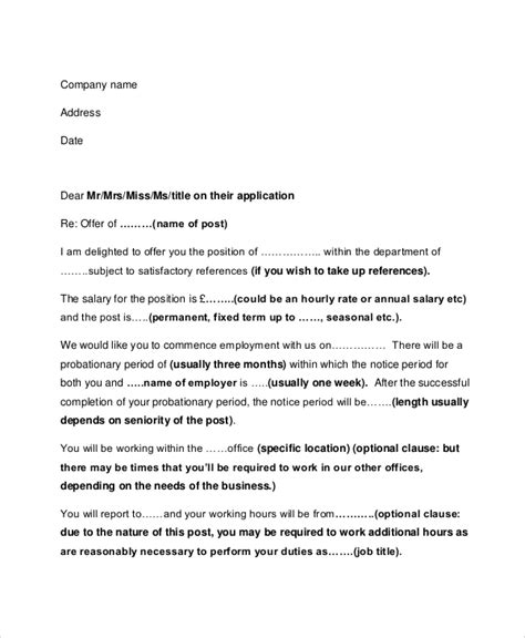 Employment Letter Vs Offer Letter Sle Employment Offer Letter 5 Documents In Pdf Word