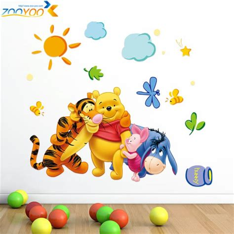 Wall Sticker Stiker Dinding Pooh Tiger winnie the pooh friends wall stickers for rooms zooyoo2006 decorative sticker adesivo de
