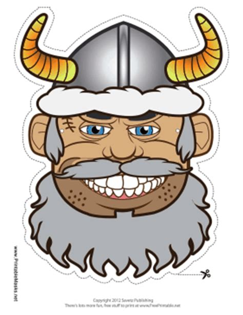 printable viking mask printable male viking with horns mask mask