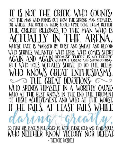Printable Theodore Roosevelt Quotes | printable art the man in the arena quote print theodore