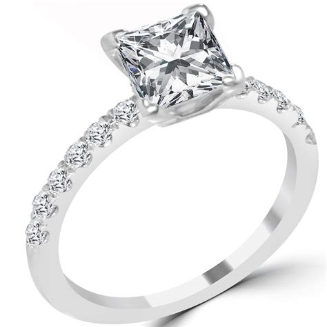 1 07 ct princess cut engagement ring vvs2 f 14k