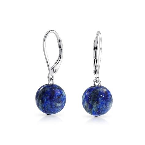 bling jewelry sterling silver leverback dyed lapis dangle