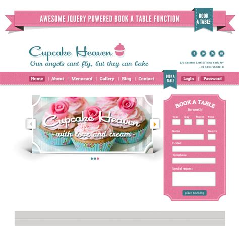 Delimondo Cupcakeheaven Fully Responsive Html By Createit Pl Themeforest Cupcake Website Template