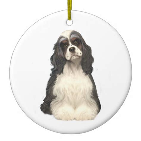 cocker spaniel parti colored christmas tree ornaments