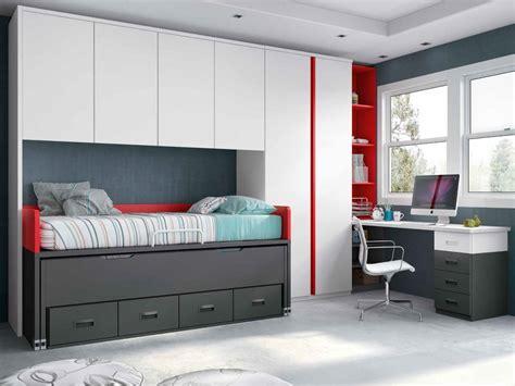dormitorio juvenil en color blanco pizarra  rojo