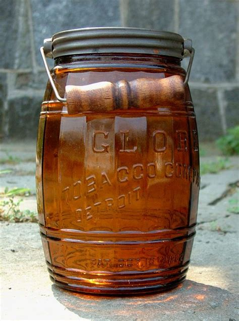 Antique Amber Glass Globe Barrel Tobacco Jar with Lid and