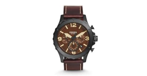Fossil Jr 1502 nate chronograph brown leather fossil