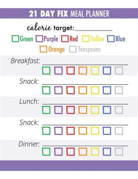 21 Day Fix Calculator How To Make Meal Prep Shockingly Easy 21 Day Fix Meal Plan Template