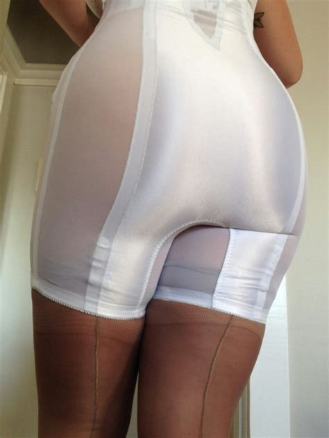White High Waist Long Leg Panty Girdle And White Longline Bra Girdle | white high waist long leg panty girdle and sheer stockings