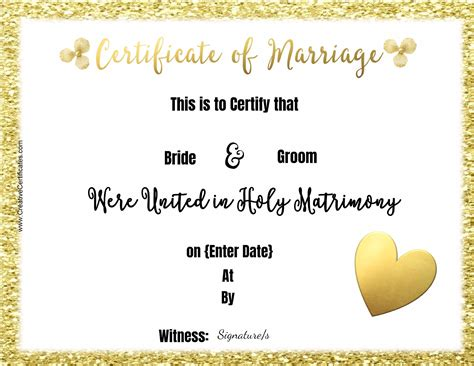 marriage certificate free marriage certificate template