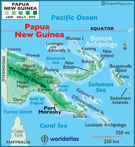 Most Popular Amazon by Papua New Guinea Large Color Map
