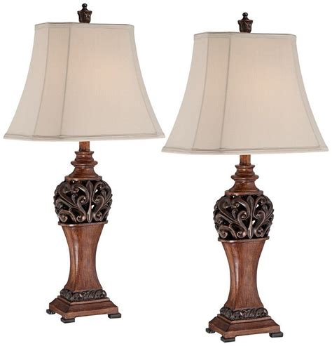 bronze set traditional table lamps lighting led decor living room antique ebay