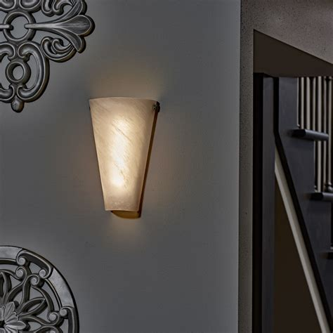 Indoor Wall Sconces Battery Powered Wall Sconce Frosted Marble Conical Shade