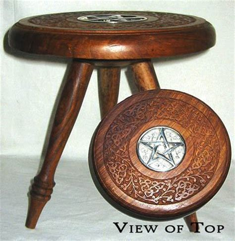 Wiccan Altar Table by Portable Altar Table Carved Wood Silver Pentagram Celtic