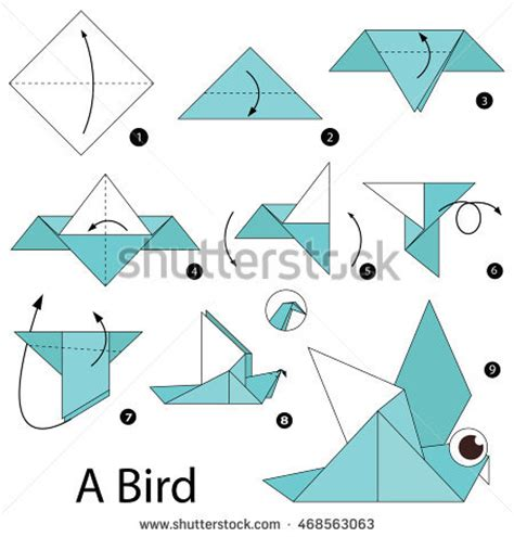 How To Make Origami Bird Step By Step - step by step how make stock vector 367974551