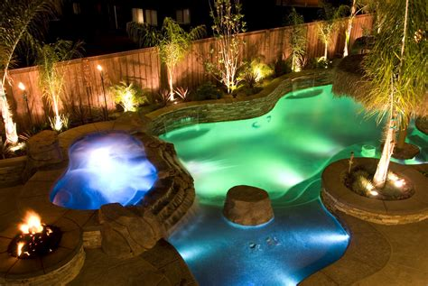 backyard lights pool waterfall designs gallery creativerock com au