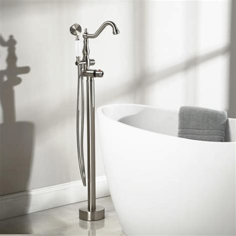 bathtub filler faucet keswick freestanding thermostatic tub faucet and hand