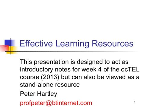use layout and presentation of learning materials effectively effective learning resources
