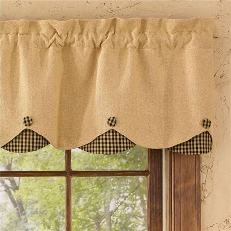 burlap curtains lined burlap check black lined scallop valance valance