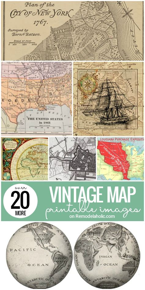 printable maps remodelaholic free vintage map printable remodelaholic 20 more free printable vintage map images