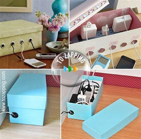easy way to decorate home organizador de cables hecho de caja de zapatos tozapping com