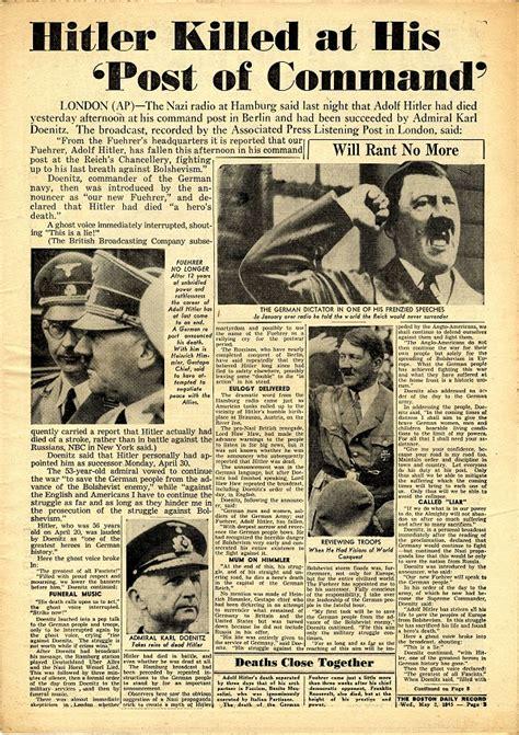 adolf hitler biography death rare wwii newspaper adolf hitler s death the mitchell
