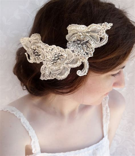 Wedding Hair Accessories Lace by Lace Headpiece Rhinestone Lace Hairpiece Alencon Lace