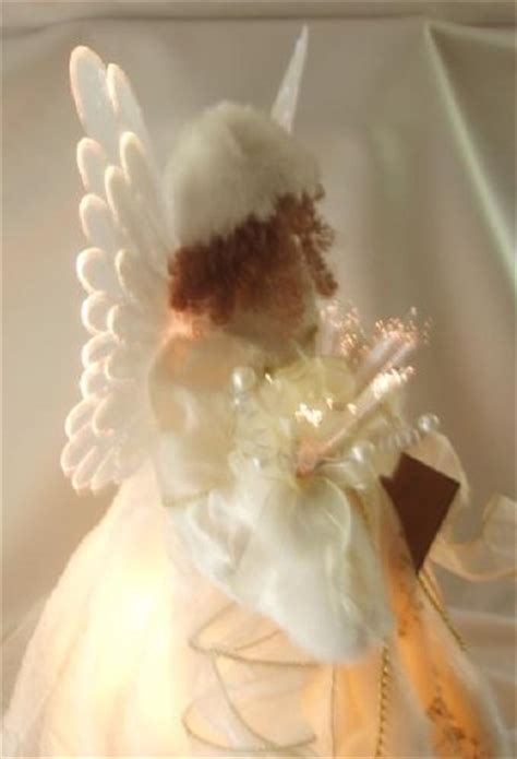 motorized angel tree topper wings head and arms move animated white fiber optic tree topper 18 quot wings arms move buy in
