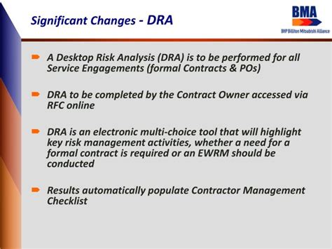 dra management ppt one bma contractor management system cms
