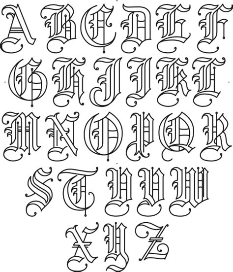 tattoo maker old english font old english initial font set se01052